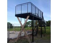 Steel fire escape steps and large balcony