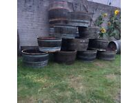 Oak planters whisky barrels