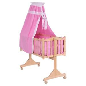 Wood Baby Cradle Rocking Crib Newborn Bassinet Bed Sleeper Portable Nursery Pink or Yellow - BRAND NEW - FREE SHIPPING