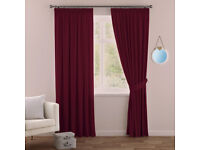 """NEW: Burgundy Red, Heavy Thermal/Blackout Curtains, RRP £150 90"""" Width 72"""" Drop"""