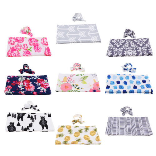 Baby Floral Swaddle Blanket and Headband Set,Receiving Blank