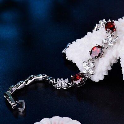 Bling Red Garnet&Topaz Crystal White Gold Filled Bangle Chain Bracelets Jewelry