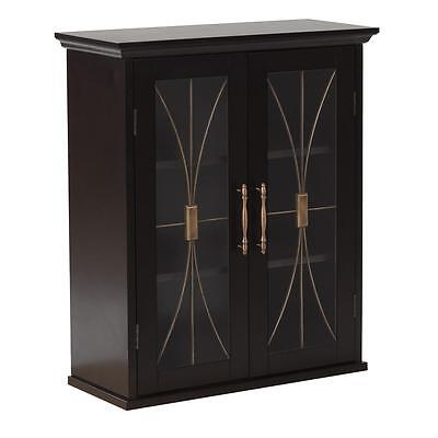 Sansai Modern 2 Glass Doors Wall Cabinet Bathroom Storage White or Dark Espresso