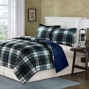 Classic cozy blue navy green yellow white boys plaid - Navy blue and yellow bedding ...