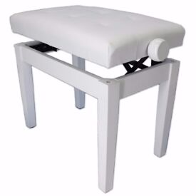 SONATA ADJUSTABLE PIANO STOOL WITH WOODEN HANDLES, POLISHED WHITE