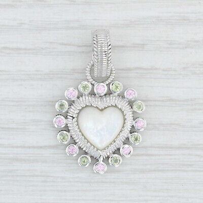 Judith Ripka Gemstone Heart Enhancer Pendant - Sterling Silver Mother of Pearl