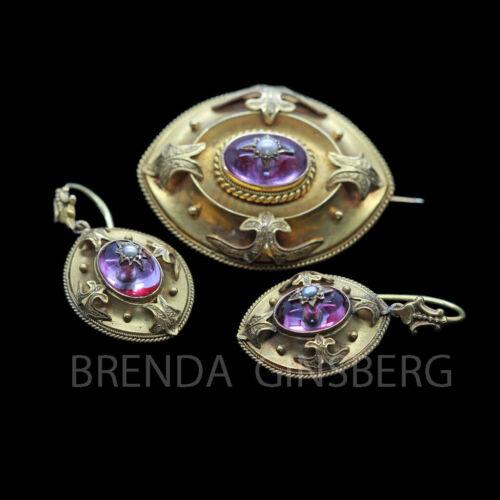 Antique Victorian Earrings Brooch Set Parure 18k Gold Amethysts Pearls (6906)