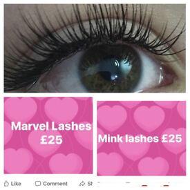 Full Set Of Mink Or Marvel Lashes £25