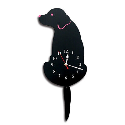 Black Labrador Dog Tail Wagging Clock Cartoon Pet Wall Time Silent Mute