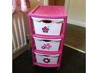 Pink kids storage trolley