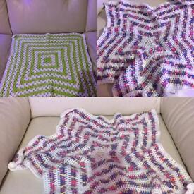 Handmade crochet baby cot crib star blankets ideal for babywearers