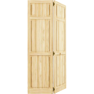 Kimberly Bay Door. 24 In. 6 Panel Solid Core Unfinished Wood Interior  Bi Fold Closet Door Dpbt6pc24