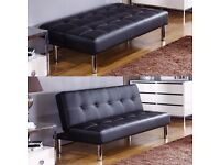 BRAND NEW- OFFER! Premium Leather Sofabed in Black or Brown - SAME/NEXT DAY DELIVERY