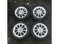 "16"" GENUINE AUDI A3 ALLOY WHEELS TYRES ALLOYS 5x112 VW GOLF MK5 MK6 CADDY SEAT LEON"