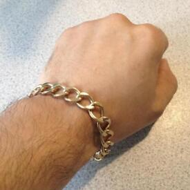 9ct Gold Curb Bracelet, 32g, Safety Chain