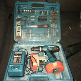 Makita battery drill and bits