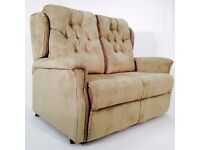 Two Seater Static Sofa, Plain Sage fabric, Button Back