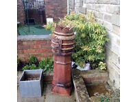 Unique Rust Red original 140 c high x 30c wide Chimney Pot in perfect condition.