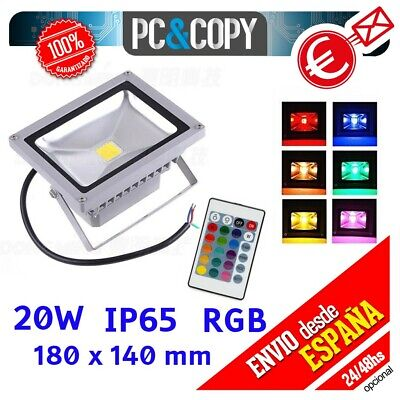 R1301 Foco Proyector LED RGB 20W Luz Reflector Lampara Exterior IP65 Impermeable