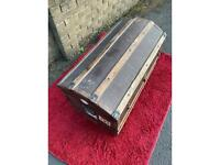 Antique voyage trunk, pirate chest, traveller's trunk, shipping chest, blanket box, lockable.
