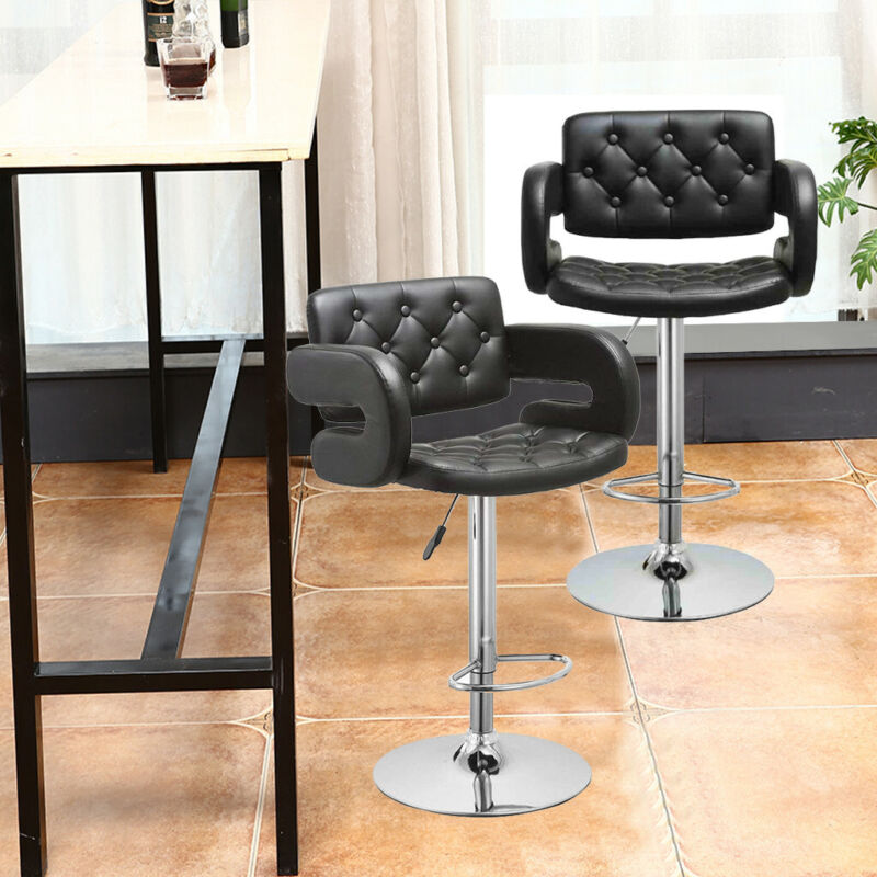 Miraculous Details About Set Of 2 Leather Adjustable Bar Stools Counter Height Swivel Stool By Leopard Short Links Chair Design For Home Short Linksinfo