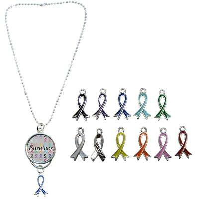 Survivor Multi Ribbon Silver Awareness Rear View Mirror Hang Choose Ribbon Color