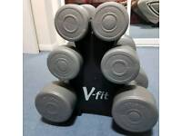 V-fit dumbells / hand weight set with stand