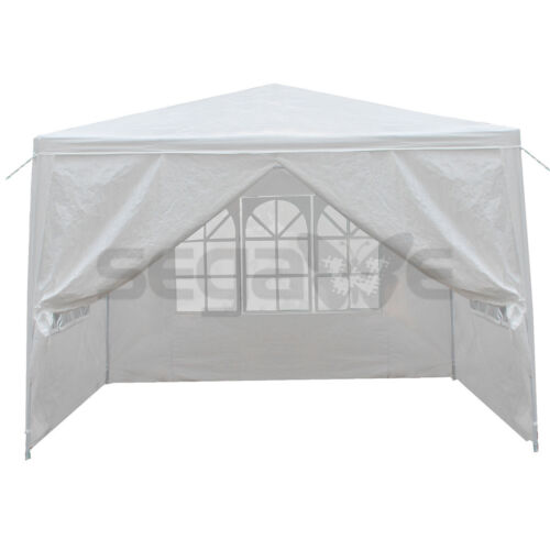 10′ x 10′ Canopy Party Wedding Tent w/4 Side Walls Gazebo Pavilion White Outdoor Awnings & Canopies