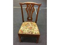 Set of Seven Antique Regency Style Brown Queen Anne Leg Dining Chairs