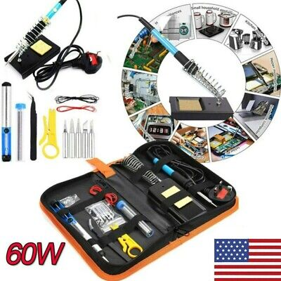 60w Soldering Iron Kit Electrical Welding Tool Gun Solder Station Tip Tweezer