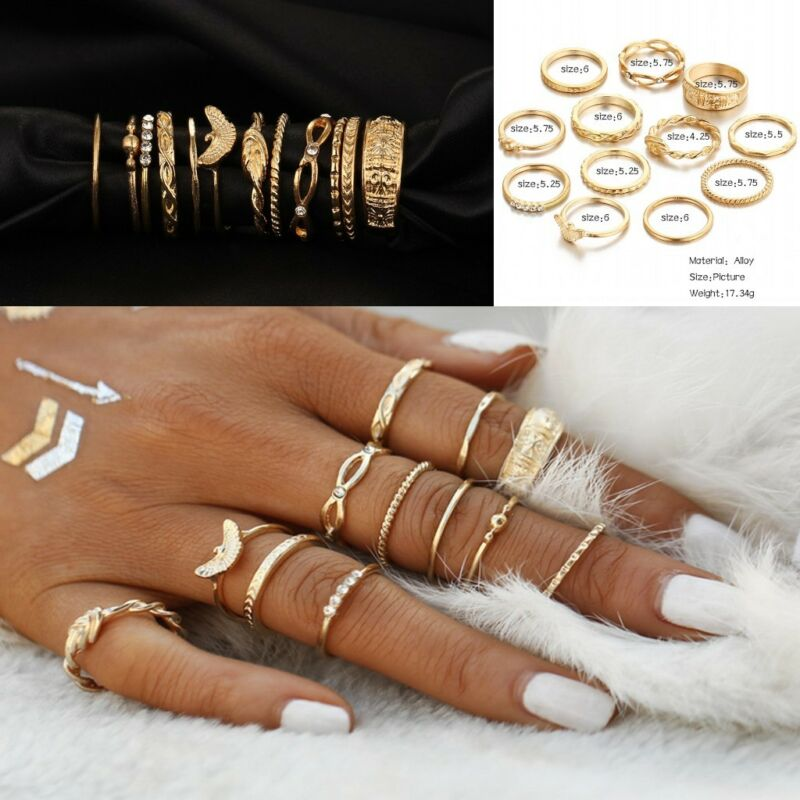 Jewellery - 12 Pcs/set Gold Midi Finger Ring Set Vintage Punk Boho Knuckle Rings Jewelry NEW