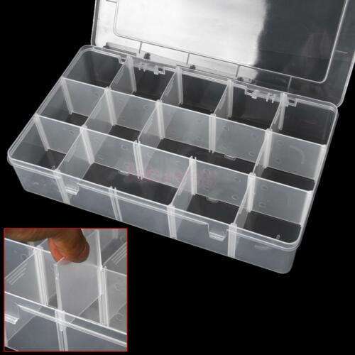 Large adjustable plastic 15 compartment storage box for Craft storage boxes plastic