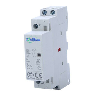 25A 230V 2 Pole Contactor AC 2 Normally Open DIN Rail Mount...