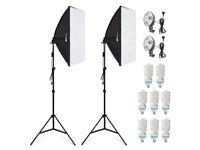 Softbox Lighting Kit with 135w 8 Bulbs and 2 x 2m Universal Light Stand Photography Studio