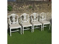 SHABBY CHIC STYLE DINING ROOM CHAIRS X4