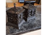 antique cast iron lanterns candle holders, very heavy items matching pair
