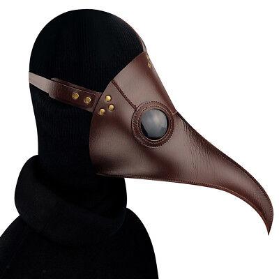 Braune Leder-Pest-Doktor-Vogelmaske lange Nase Schnabel Steampunk Kostüm