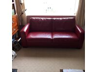 Italian red leather settee / futon