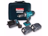 Makita 18v Li Cordless Hammer Combi Drill with 2 Batteries carry case