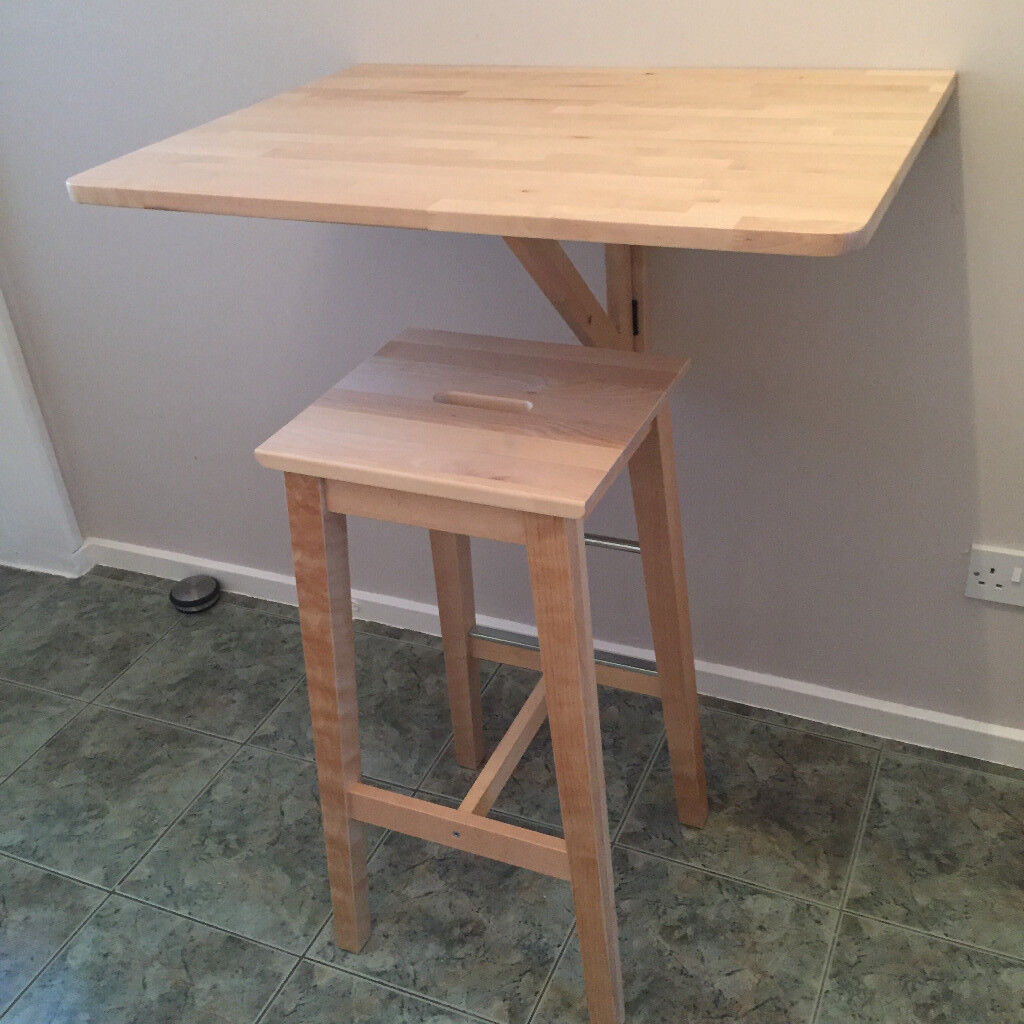 Ikea Bosse Bar Stool And Norbo Wall Mounted Drop Leaf Table Solid Birch