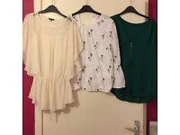 THREE tops Warehouse and Zara Size 12