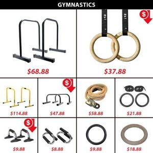 Gymnastics | Parallettes | Olympic | Rings | Pull | Up | Push | Bar | Dip | Equalizers | Lebert | Climbing | Rope | Wood