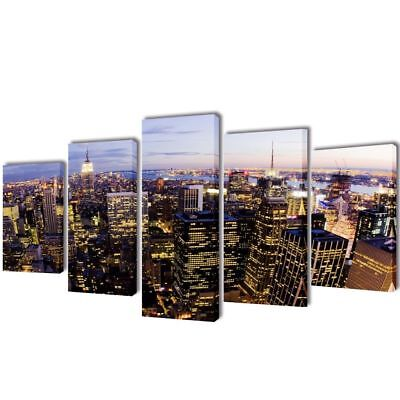 "Wall Decor Canvas Print Art Framed 5 Panels 79"" Abstract Painting NYC Skyline"