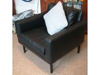 IKEA Black Faux Leather Armchair - Excellent Condition