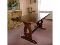 Solid wood refectory dining table
