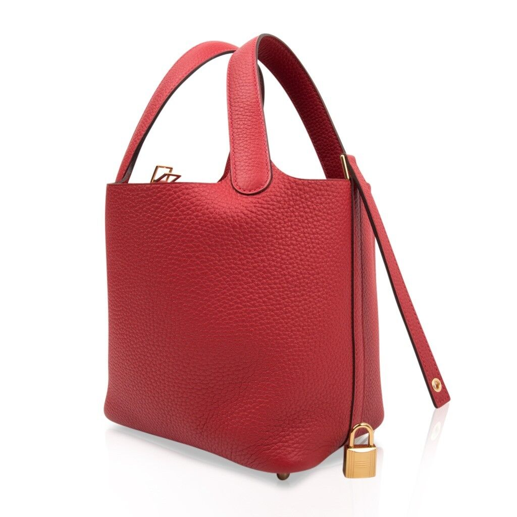 Hermes Picotin Lock 18 Rouge Casaque Clemence Gold Hardware