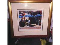 BLUE PARASOLS by Joe Mcintyre . signed and numbered print.framed.