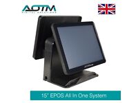"""15"""" EPOS POS Dual Display All In One Touch System With 15"""" Rear HD Advertising Screen (E105B)"""