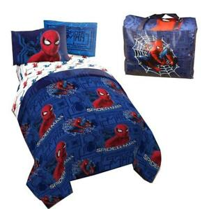 Spiderman Kids Twin Bed in a Bag 4 Pcs Bedding Set with a Tote Bag