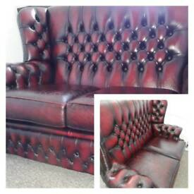 Saxon 2 seater 100% real leather sofa with matching saddle seat.